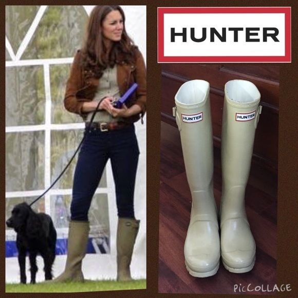 Neutral Ivory Hard to Find Gloss Hunter boots Get the look of royalty in these hard to find authentic neutral tone hunters in a beighish Ivory cream color. These are ladies tall glossy hunter size 6 female rain boots gently worn. Run big... I normally wear a 6 in sandals, 6.5 in shoes and a 7 in boots to leave room for thick socks and these fit me perfectly with socks. No trades or Paypal. Kate Middleton featured in comparable boots for style suggestion. Hunter Boots Shoes