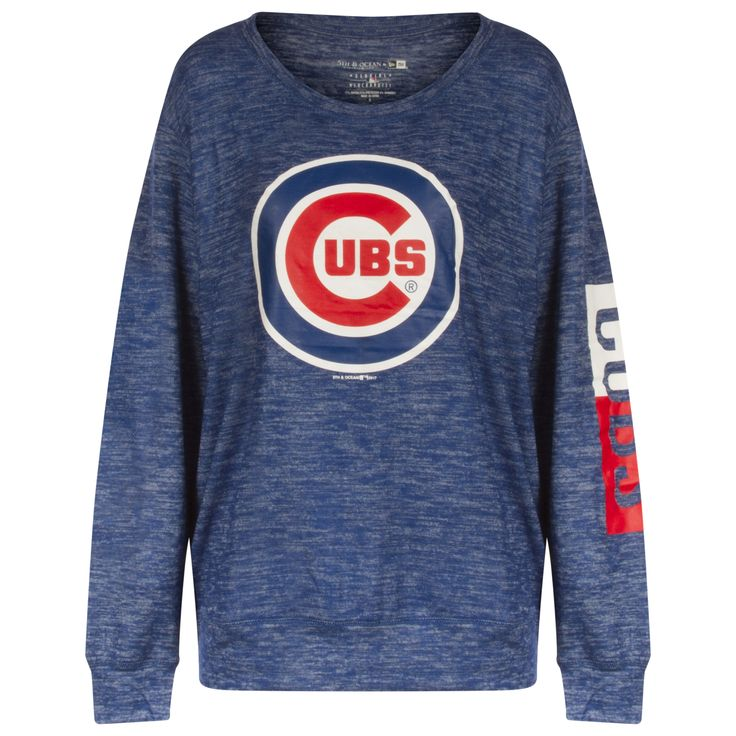 Chicago Cubs Womens Royal Space Dye Bullseye Logo and Text Print Sleeve Crew Neck Sweatshirt by 5th & Ocean #Chicago #Cubs #Chicagocubs