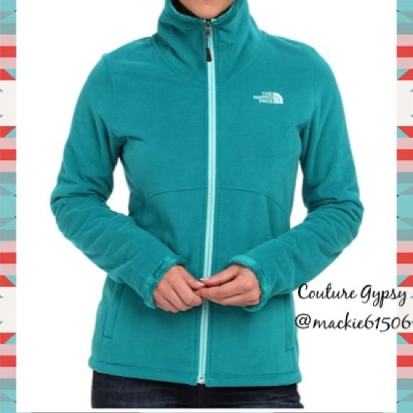 NWT North Face Turquoise Full Zip Fleece Jacket L Authentic Women's New with tags turquoise fleece full zip size largeidentical colors to stock photo, except pale silver letters and turquoise zipper.  Pics on bottom are actual jacket .  Price is firm unless bundled.  BUNDLE 3 OR MORE ITEMS FOR 15% OFF DISCOUNT North Face Jackets & Coats