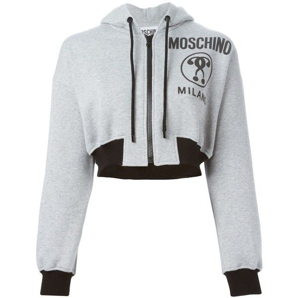 Moschino cropped hoodie ($375) ❤ liked on Polyvore featuring tops, hoodies, grey, hooded pullover, grey crop top, sweatshirts hoodies, cotton hoodies and hooded sweatshirt