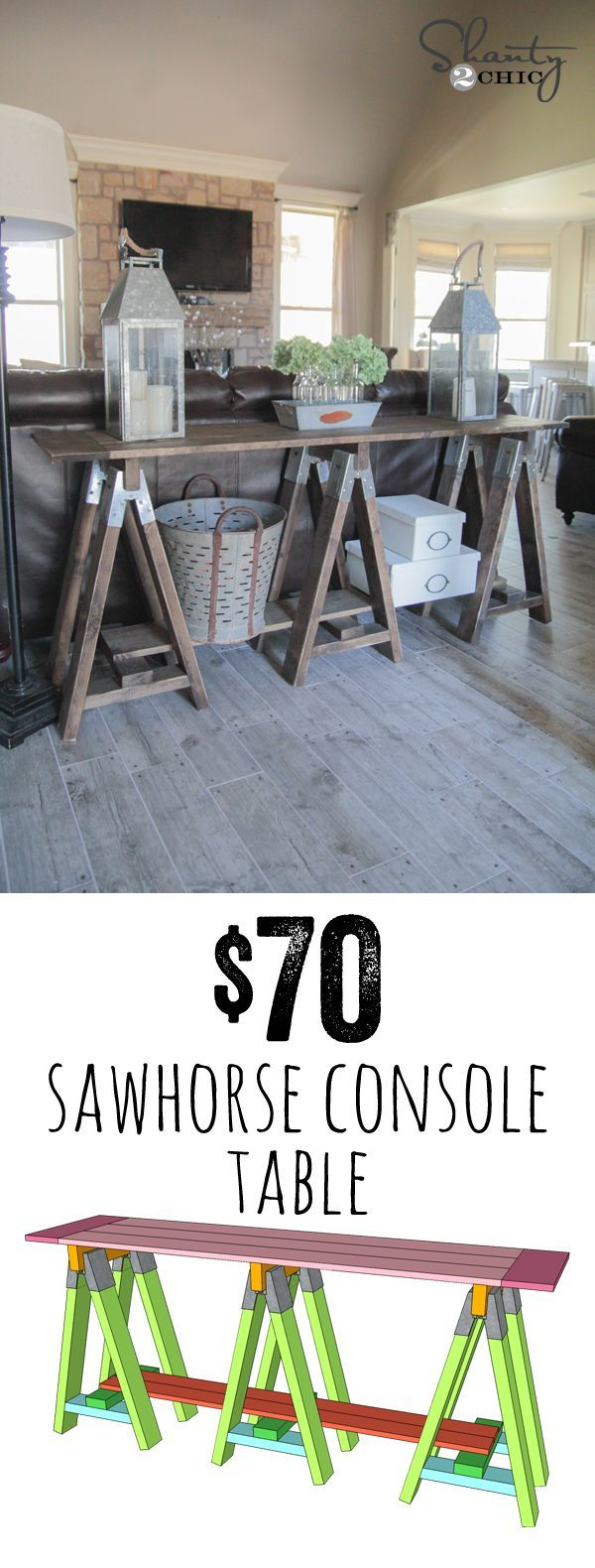 LOVE this DIY Sawhorse Console Table - Free Plans and Tutorial... So cheap too! http://www.shanty-2-chic.com