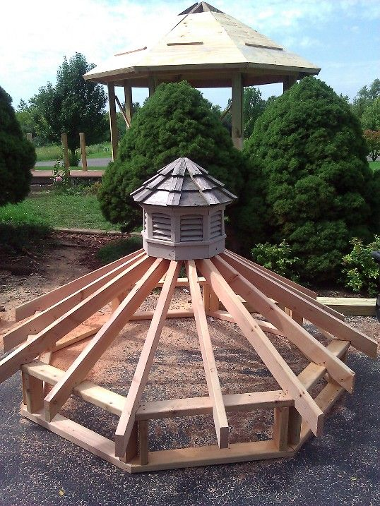 Gazebo Roof Framing | Upper Tier of New Gazebo Roof with Saved Cupola from Old Gazebo