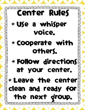 CENTER RULES SIGN FOR DISPLAY - TeachersPayTeachers.com