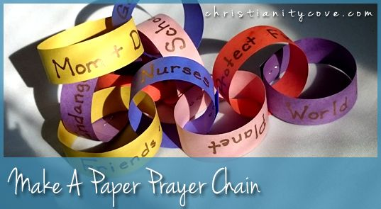 "This simple construction paper prayer chain will give kids an idea of how the prayers from ""two or more"" join to create a mighty force. It will also give you an opportunity to bring up a great prayer scripture from Revelation 8 that will help kids understand just how real prayer power is!"
