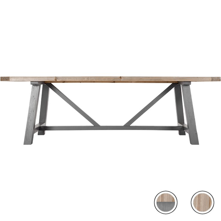 Iona Extra Large Dining Table, Solid Pine and Grey from Made.com. Bring the family together with this one-of-a-kind table and its matching bench. Ma..