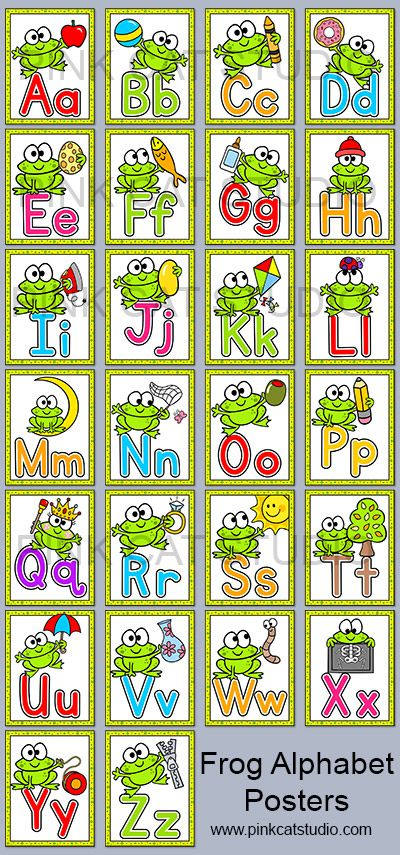 These fun frog theme alphabet posters will look fantastic on your classroom wall! The bright colors and fun frog character will have your students excited to practice their A, B, C's. By Pink Cat Studio