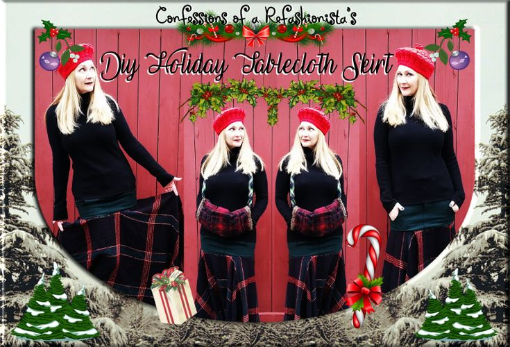 Refashion those fabulous festive textiles into merry xmas outfits with myeasy DIY upcycled holiday tablecloth maxiskirt tute!