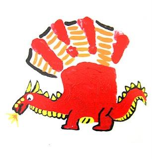 Chinese New Year Dragon hand print art