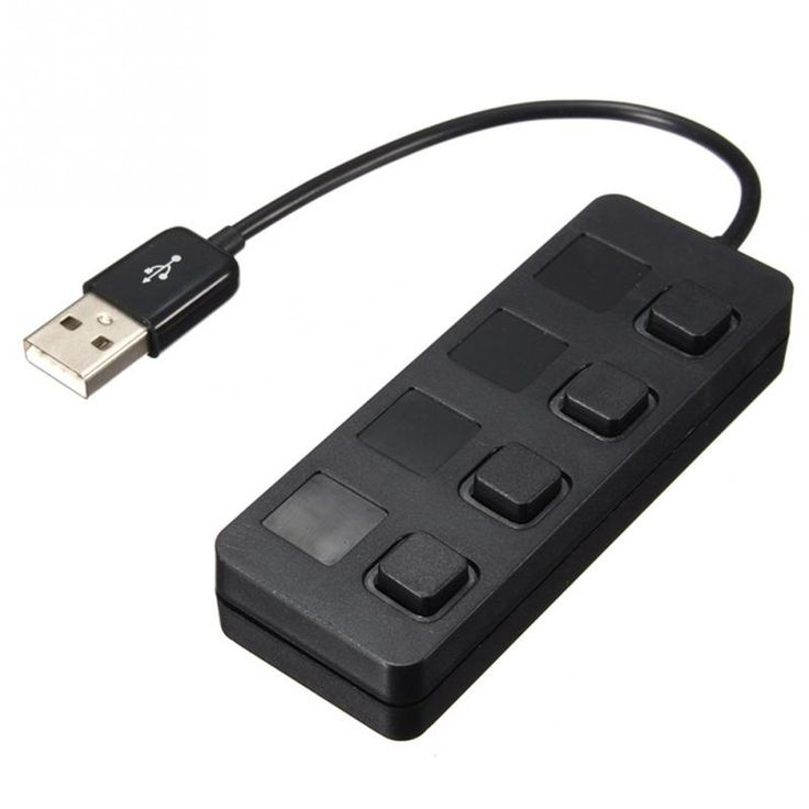 1 To 4 USB 2.0 Hub, Push-Button Switch Type USB Hub USB Data Transmission Charging Hub Black White