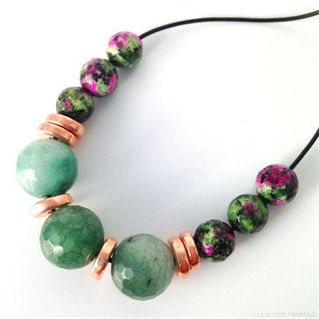 Jade, Ruby Zoisite & Rose Gold Ceramic Necklace