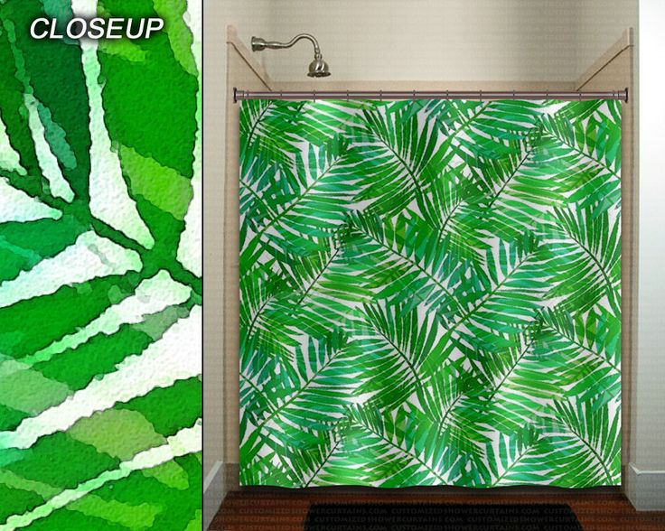 Watercolor Leaves Green Fern Leaf Shower Curtain Bathroom Decor Fabric Kids Bath Window Curtains Panels Valance