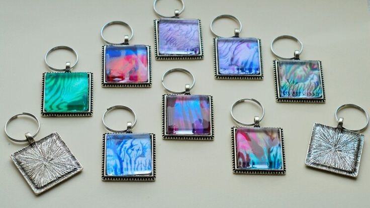 Encaustic wax painted glass tile keyring pendants by Moo Doodle https://www.facebook.com/moodoodle15