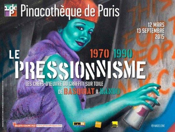 lle-pressionisme-es chefs-d'œuvre du graffiti sur toile de Basquiat à Bando : Découvrez les chefs d'œuvres du Graffiti sur toile de Basquiat à Bando, à partir de demain et jusqu'au 13 septembre 2015.  Avec l'exposition Le Pressionnisme, la Pinacothèque de Paris consacre le Graffiti sur toile de 1970 à 1990.  Le mot Pressionnisme (ou Pressure Art) vient de la pression de la bombe aérosol, c'est un art dit 'sous pression'. Il s'agit d'un art pictural dont l'instrument de travail est la bombe…