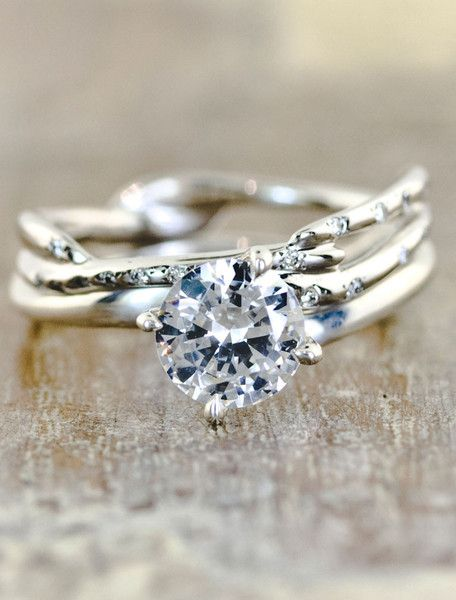 "I am not a diamond girl, compressed carbon is not by any means rare on this planet. I'd definitely prefer the sapphire option. But the ""twig"" look to this ring is insanely gorgeous. Unique Engagement Rings Ken & Dana Design - Aurora Selene pairing"