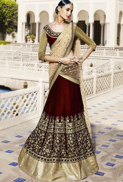 PALLU: Pallu in beige net fabric. SKIRT: Skirt with velvet in maroon color and kalis with heavy embroidery . BLOUSE: Maroon color velvet fabric with sleeve in j