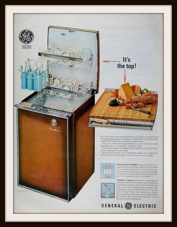 1966 Ge Mobile Maid Portable Dishwasher Advertisement Vintage Ge