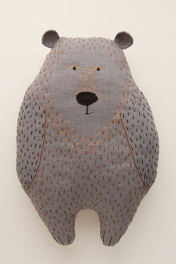 Woodland plush bear, animal shaped pillow, gray animal soft toy, big stuffed animals, woodland baby shower, woodland creature, kids soft toy