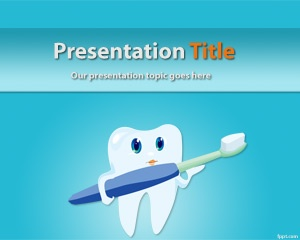 Free Cosmetic dentistry PowerPoint Template with tooth and toothbrush