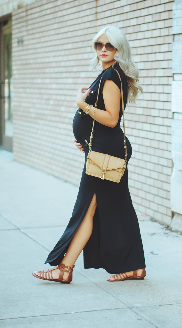 Navy maternity maxi- it looks black and I like the brown and gold with the black
