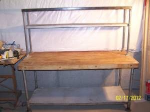 vintage industrial kitchen prep table