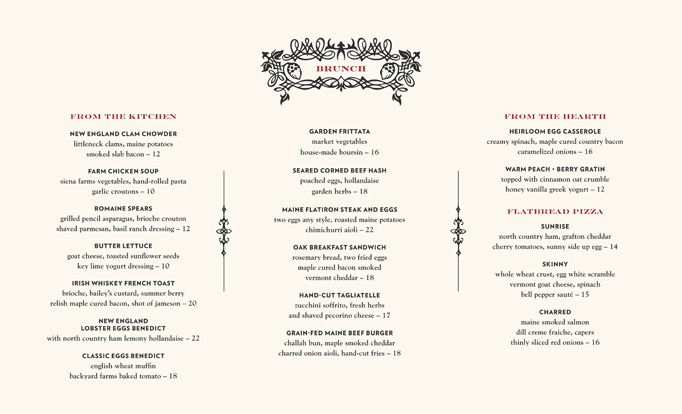 Oak Long Bar Kitchen Menu