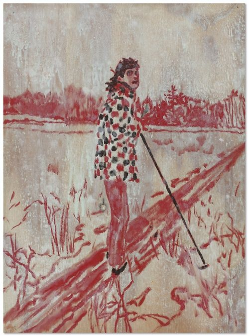 Peter Doig (British, b. 1959), Figure in Landscape, 1996. Oil on board, 48 x 35 cm.