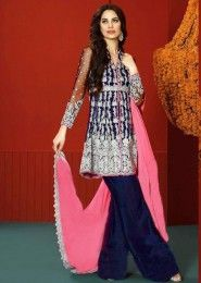 Party Wear Neavy Blue Georgette Heavy Embroidery Work Salwar Suit