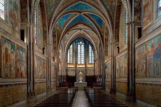 GIOTTO, San Francesco d'Assisi , chiesa superiore, 1290-1295, utilizza la prospettiva intuitiva