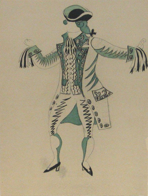 10/13/16 http://www.moma.org/collection/works/125896?locale=en Le Tricorne is a pochoir by Pablo Picasso, a Spanish artist. This piece depicts a figure dressed in a formal attire, who seems to have his/her arms in motion. This piece interests me because it's from a collection of costume designs for a ballet that Picasso designed himself.