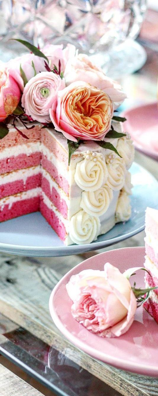 Beautiful Cake with Soft Pink Layers