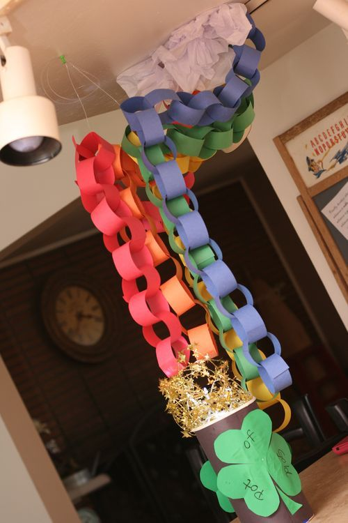 paper chain rainbow - just the sort of thing my kids would love. Anything that puts holes in my ceiling and is big and bright colored with cutting/gluing/stapling/taping. A winner in their book! lol