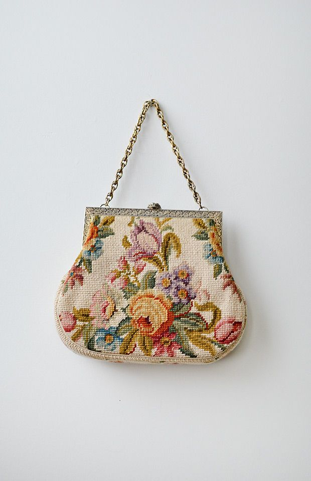 Cotswolds Manor Bag // Needlepoint floral frame bag, 1950s | Adored Vintage