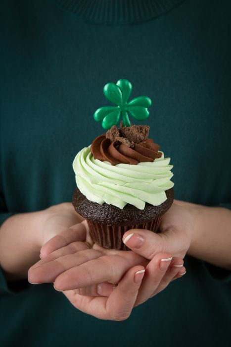 Check out our delectable Grasshopper Pie cupcake with a lucky green clover!