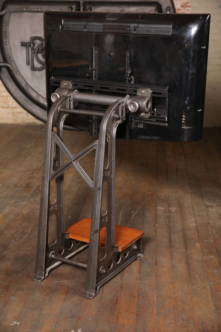 Flat Screen TV Stand Vintage Industrial Cast Iron Media Screen Display Table 4