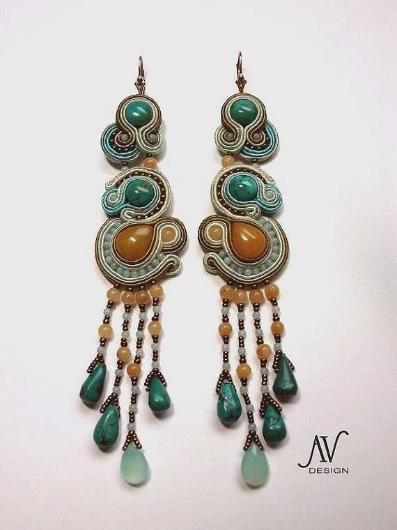 Soutache earrings Semiramis by AnnetaValious on Etsy, $165.00