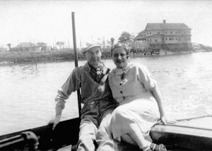 Ayn Rand with her husband in Connecticut. In Stony Creek, CT, where her husband was working in summer stock productions and where she wrote Anthem (1937).