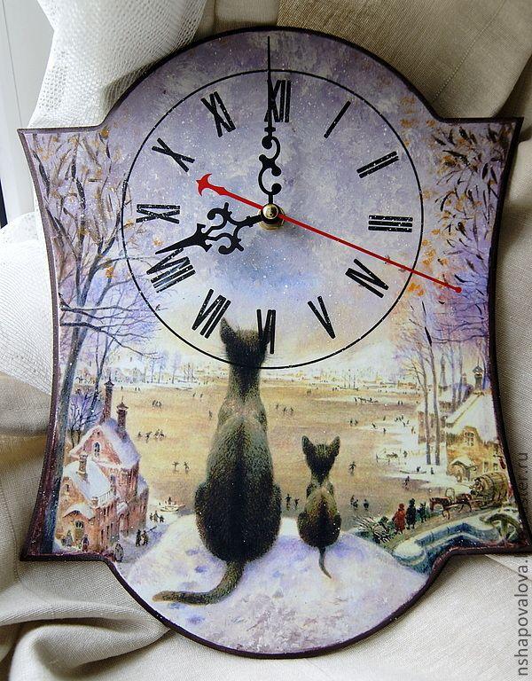 """Купить Часы """"Первая зима"""" - часы настольные, коты, часы настенные, Румянцев, зима"""