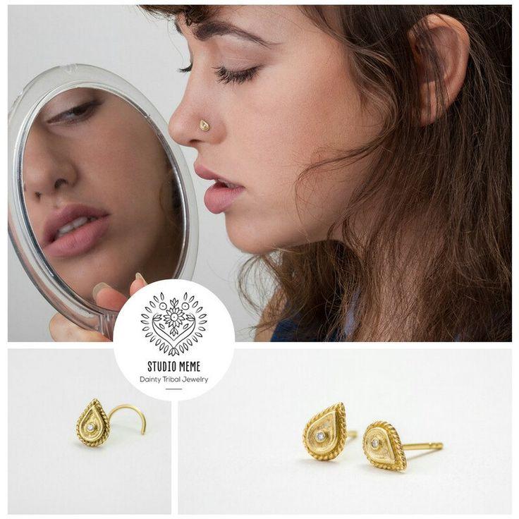 Handmade 14k gold nose stud with diamond 🌷