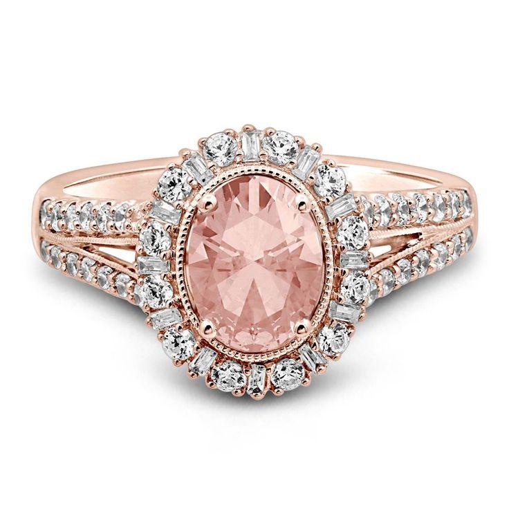 TRULY ™ Zac Posen Morganit & 3/4 ct. tw. Diamant-Verlobungsring aus 14 Karat Roségold
