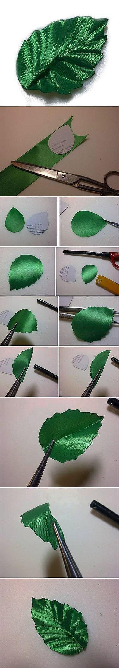 DIY-Ribbon- Как сделать листик из атласной ленты.