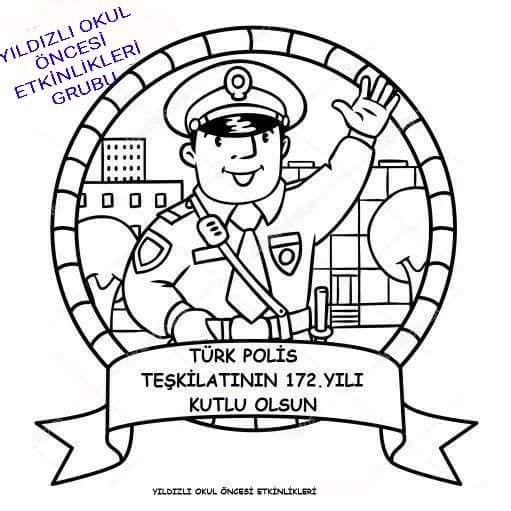 Polis Haftası Polis Boyama Okul öncesı School Coloring Books