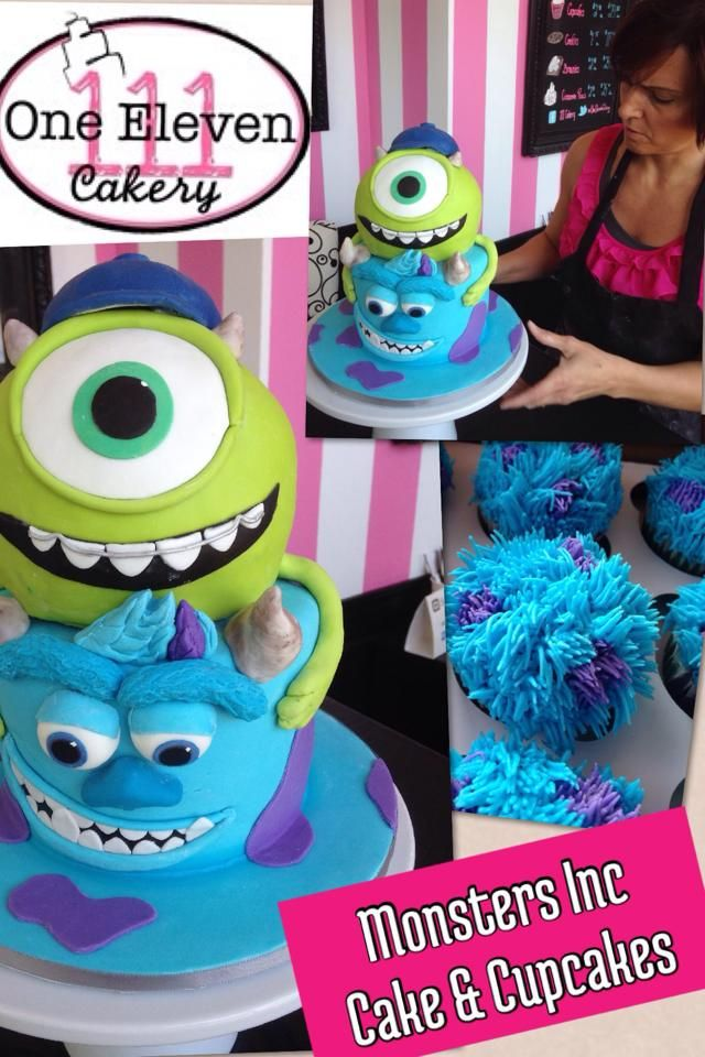 LOVE this Monsters Inc Cake & notice the adorable Sully cupcakes!!!