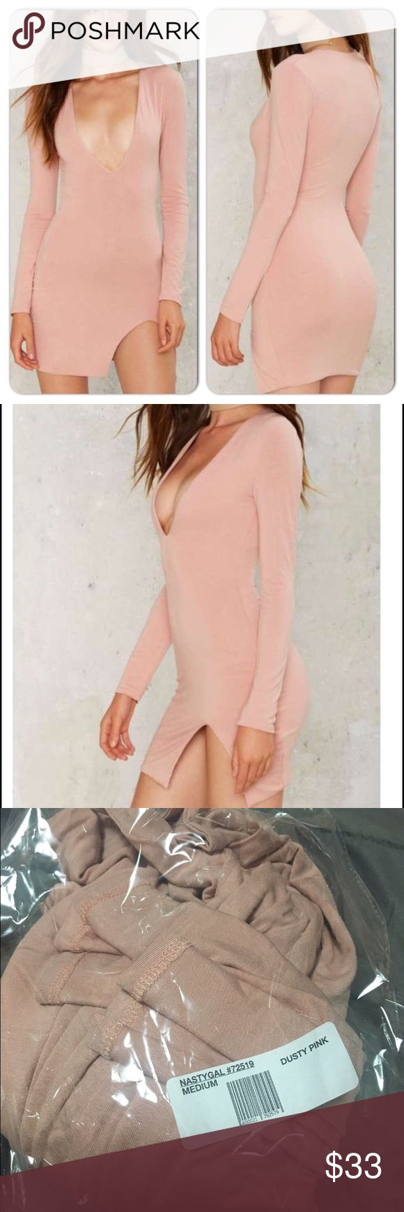 💋NWT NASTY GAL Slit Happens Pink Slit mini dress 💋NWT NAST GAL SLIT HAPPENS Stretch Mini Dress in GORGEOUS Blush Pink hue with front side slit. Nice think fabric molds your body beautifully! Size M, fits S, M. Retail $86. Also available; ASOS, Zara, For Love & Lemons, Free People, Anthropologie, Urban Outfitters, J. Crew, Sabo Skirt, Tobi, Lulu's & more💋 Nasty Gal Dresses Mini