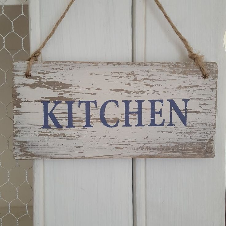 DISTRESSED CHIC N SHABBY WOODEN KITCHEN DOOR OR WALL SIGN Via Bluelake  Interiors. Click On