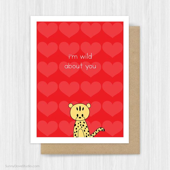 Cute Cheetah Valentine Card Love Pun Valentines Day Cards By Sunny