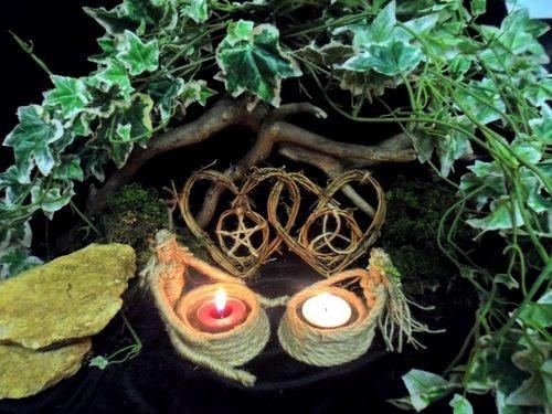 Pagan Handfasting Gift. Horned God & Goddess Handmade Beltane Altar Set