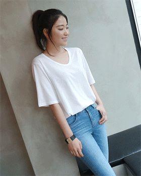 Uネックベーシック半袖Tシャツ[FLY MODEL| 公式・オンラインストア]ファッション通販 今日もFLY MODELと一緒!