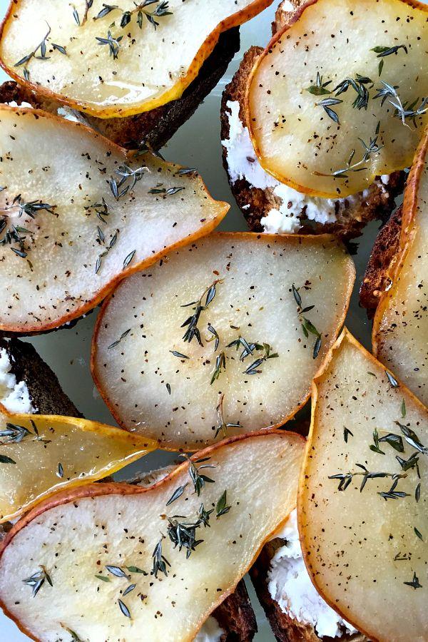 Honey roasted pear crostini