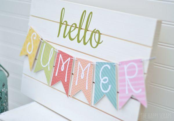 DIY Summer Banner by TheHappyScrapper.com for TodaysCreativeBlog.net #diy #summer