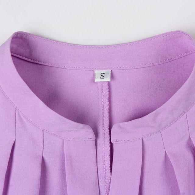 Elegante Formal del V-cuello de la blusa de las mujeres OL moda de verano camisa de gasa manga corta delgada señoras de la oficina más el tamaño tops Lavanda Blanco                                                                                                                                                                                 Más